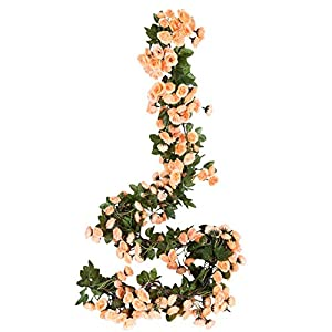 Miracliy 2PCS 69 Heads Fake Rose Vine Flowers Plants Artificial Flower Hanging Rose Wedding Party Garden Craft Art Décor, Champagne