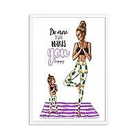 ヨガの引用ポスターファッションママと娘の壁アートキャンバス絵画とプリントモダンなリビングルーム女の子の部屋家の装飾写真40x60cmx1フレームなし