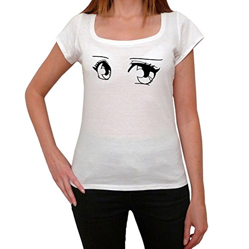 One in the City Manga Eyes T-Shirt Femme - Blanc, M, t Shirt Femme,Cadeau