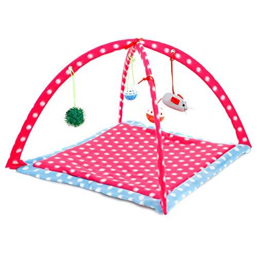 Koobysix kat benodigdheden kat speelmat, kat tent activiteitencentrum met Hang kat speelgoed ballen muizen geschenken voor uw katten, roze