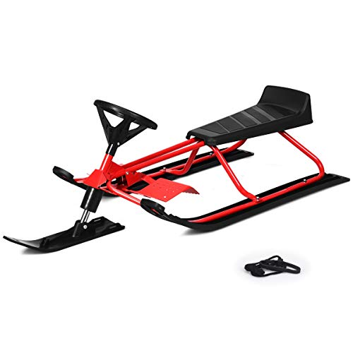 "Goplus Snow Racer Sled, 55"" Ski Sled Slider Board with Steering Wheel, Twin Brakes, Retractable Pull Rope, for Kids Age 4 & up, Holds Two Children/a Teenager/an Adult (Red)"