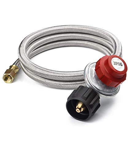 SHINESTAR 5FT Upgraded 20PSI Adjustable Propane Regulator Hose with Stainless Braided, Fit for Turkey Fryer, Smoker, Grill, Cooker