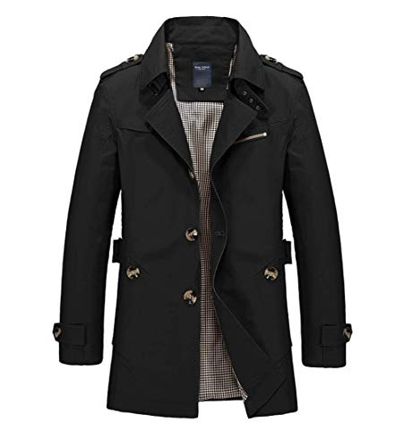 chouyatou Men's Slim Notched Collar Single Breasted Cotton Jacket Office Trench Coat (X-Large, Black)