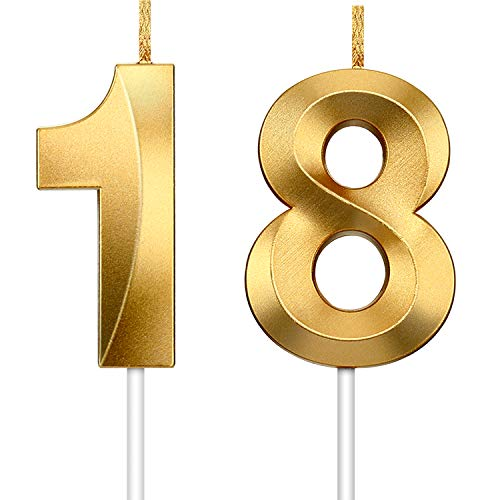 2 Pezzi Candela Numero Candele Glitter Oro Candele Decorative per Torte di Compleanno Torta di Compleanno Topper Decorazione per Nozze Anniversario di Compleanno Graduazione Celebrazione (Numero 18)
