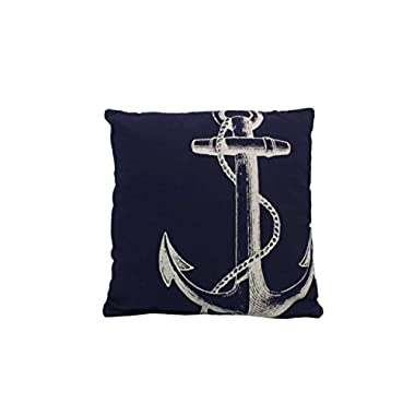 Hampton Nautical Y-66123-Anchor Blue & White Anchor Decorative Throw Pillow 14  Home Decoration