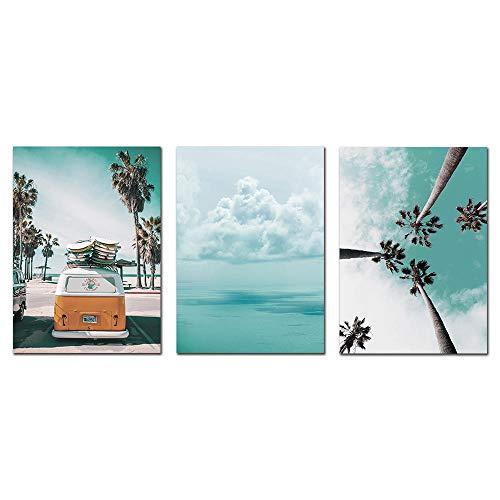 Suuyar kokospalm strand auto muur canvas schilderij zeegezicht canvas foto's voor de woonkamer landschap Scandinavische poster schilderij-40x60cmx3pcs geen frame