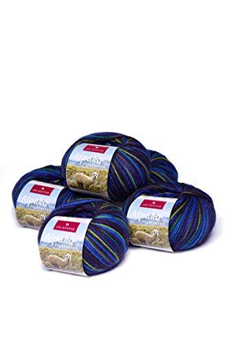 APU KUNTUR Alpaka Socken-Wolle | Strick-H�kel-Garn weich, warm und kratzfrei | 5er Vorteilspack | 200m, Nadel 2,5 | wundersch�ne Farben zum angenehmen Stricken und h�keln | blau-Marine