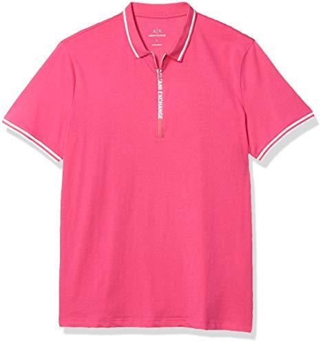 A|X Armani Exchange – Camiseta de Manga Corta para Hombre, Resplandor Rosado, X-Small