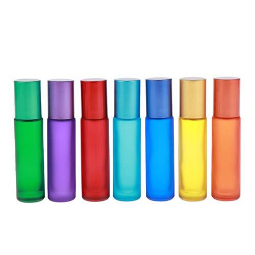 Baoblaze 7x Flacons-roller En Verre de 10ml avec Bille Roulante en Métal Pour Huile Essentielle, Parfums