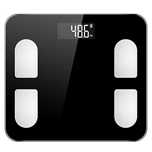 Geavanceerde slimme lichaamsvetweegschaal met 15 essentiële functies Digitale weegschaal voor badkamers, via Bluetooth of Wi-Fi Hoge precisie digitale weegschaal voor,Black,29 * 26cm