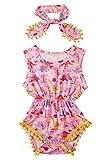 chicolife Baby Strampler Bodysuit Streifen Neugeborenen Overall Rundhals Rosa Schmetterling Muster mit Quaste Urlaub Outfit Unisex Set