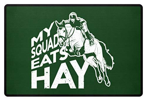 PlimPlom My Squad Eats Hay - Reitsport Pferde Reiter Spruch Türmatte - Fußmatte -60x40cm-Dunkelgrün