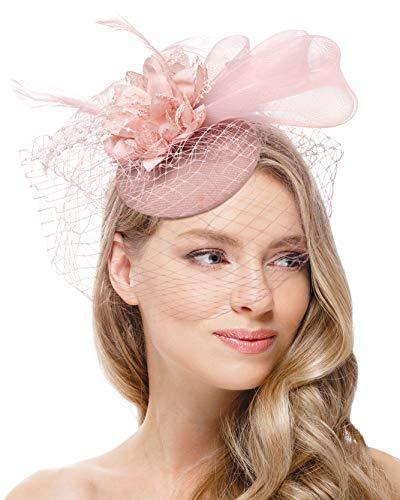 Zivyes Pink Fascinators Hat for Women Tea Party Headband Derby Wedding Flower Mesh Veil Fascinator