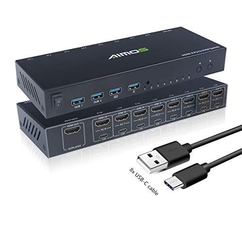 KVM Switch, HDMI Conmutador 8 Entradas 1 Salida USB 2.0 Switcher Hub, Selector De Mouse y Teclado Admite 4K @ 30Hz 3D para Computadora Portátil, PC, PS4, Xbox HDTV