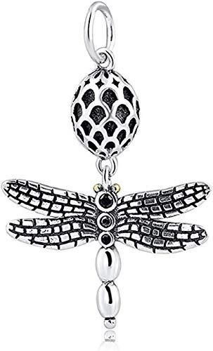 Bolenvi Colgante realista de libélula negra de plata de ley 925 para Pandora y pulseras o collares similares