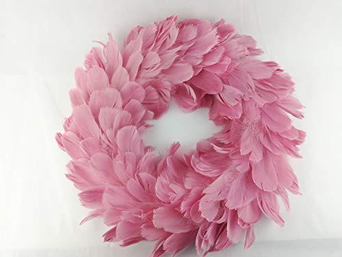 Federkranz mit Glimmer 38cm Pink Deko Hochzeit Sommer Türdeko Garten Home Landhaus Ganzjährig Weihnachten Kranz Türkranz Dekoration Ostern Frühling