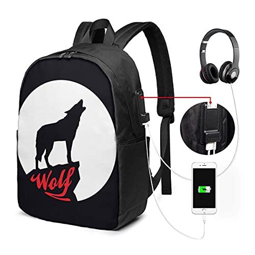 XCNGG Luna llena con silueta de lobo aullador Mochila para computadora portátil de 17 pulgadas con puerto de carga USB Computadora de viaje Mochila de negocios para mujeres Hombres Mochila escolar uni