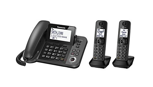 Panasonic KX-TG572SK DECT 6.0 Plus Corded / Cordless Combo Phone System with 2 Cordless Handsets (plus one corded handset) (Renewed)