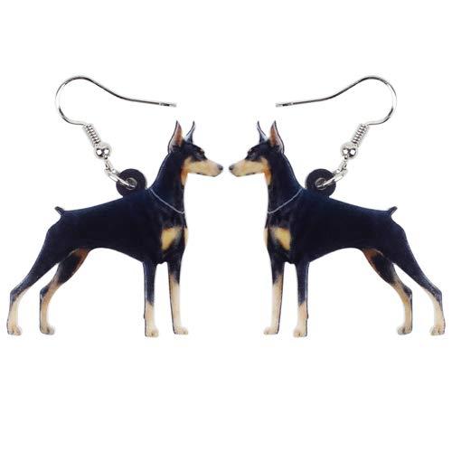 NA - Pendientes de aro acrílicos con diseño de perro, grandes y largos, para niña