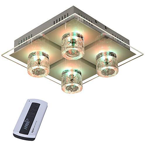 Deckenleuchte Kristall | Deckenlampe in Chrom | Leuchte inklusive Halogen und LED-Leuchtmittel ✔ Lampe mit RGB-Farbwechsel ✔ Steuerung via Fernbedienung