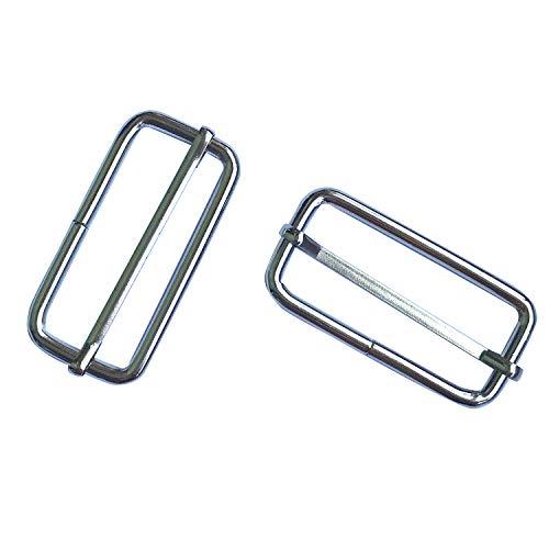 50 Pieces Slide Buckle - 2 inch Metal Triglide Slides Rectangle Adjustable Webbing Slider for Purse Bag Suspenders Making DIY Accessories,Q2015
