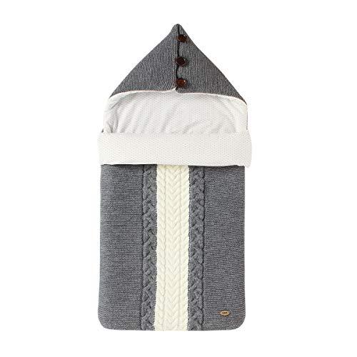 Tianhaik Saco de Dormir de Punto con Capucha para Bebés Forro de Algodón para Bebés Manta para Pañales Colcha para Cochecito Colcha para Cuna