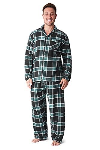 CityComfort Pijama Hombre Cuadros, Pijama Hombre Invierno Franela, Pijamas Hombre Estampado Escoces, Ropa Hombre 100% Algodon, Regalos para Hombre Talla M-3XL (Negro Verde, L)