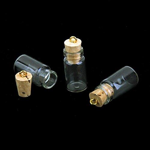 Hieefi 10pcs Mini Botellas De Vidrio, Botellas De Cristal Pequeño con El Corcho, Frascos Pequeños Cork Miniatura Borrar Los Tarros De Cristal Multi Usos Taponeras Deseo De Cristal
