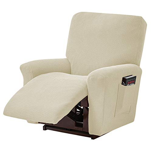 ele ELEOPTION Funda de sofá Recliner, funda elástica para sillón de descanso, Spandex Jacquard, 4 piezas, funda elástica para sillón reclinable, sillón de relax, sillón de masaje, color beige
