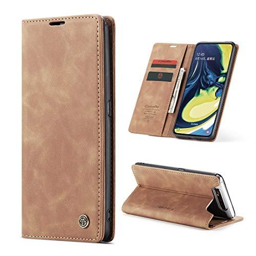 yanzi Hülle Samsung Galaxy A80 Handyhülle Flip Hülle Schutzhülle Samsung Galaxy A80 Premium Leder Tasche Braun Wallet Lederhülle Bumper Silikon Samsung A80 Cover Hülle