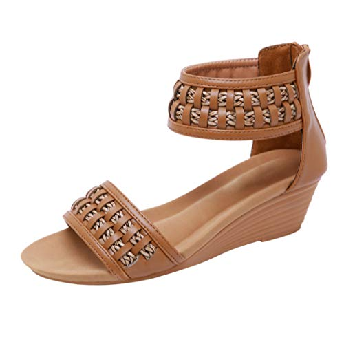 Sandales compensées en Cuir PU avec Fermeture à glissière en Cuir PU pour Femmes
