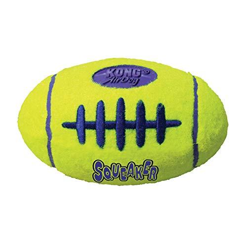 KONG – AirDog Football – Quietschendes, Federndes Apportierspielzeug aus Tennisballmaterial – Für Mittelgroße Hunde