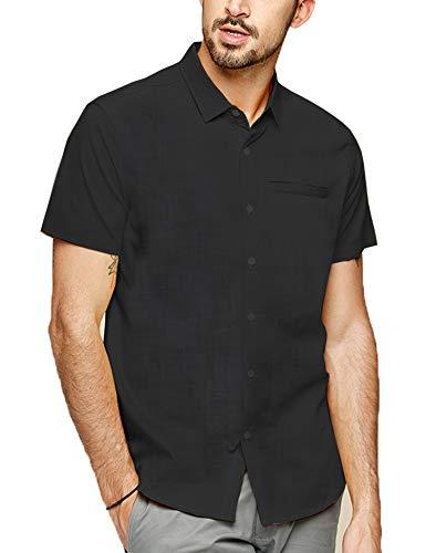 LecGee Men's Linen Shirt Regular Fit Short Sleeve Button Down Beach Shirt