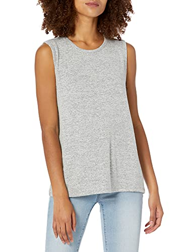 Amazon Brand - Daily Ritual Women's Cozy Knit Muscle Tee, Heather Grey,Large