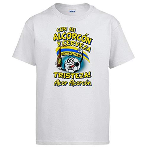 Camiseta Frase con mi Alcorcón y Cerveza Nunca Hay Tristeza para Aficionado al fútbol - Blanco, 7-8 años