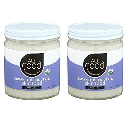 All Good Organic Coconut Oil Skin Food w/Lavender - Natural Moisturizing Skin Care - Non GMO - Vegan - 7.5 oz (Lavender)(2-Pack)