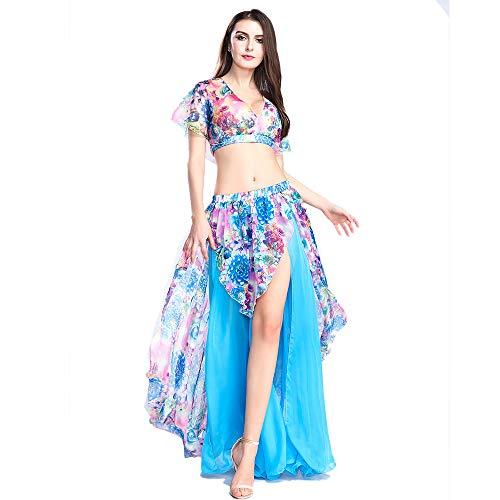 ROYAL SMEELA Falda Tops de Danza del Vientre Traje de Baile Sexy Vestidos de Rendimiento Conjunto de Disfraces Florales de Baile de Gasa Tops para Mujer