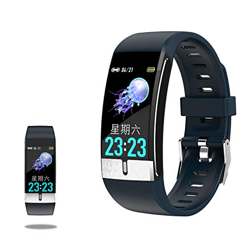 RNNTK Etanche Bracelet Connecté pour Homme Femmes,pour Android iOS Trackers D'activité Montre De Fitness, avec Sommeil ECG Tension Artérielle Cardiofrequencemetre Montre Connectée É-Bleu