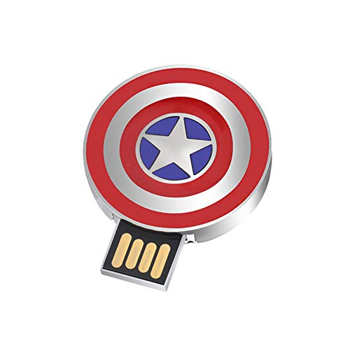 Memoria USB Flash Drive Pen Drive Memory Stick Unidad Pulgar Disco USB 2.0 Alta Velocidad Marvel Serie Iluminar Dibujos Animados Anime The Avengers Star Wars Superhero (32G, Captain America's Shield)
