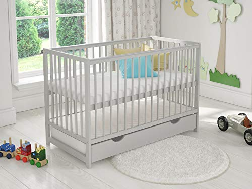 DENISE Wooden Baby Cot with Drawer 120x60cm + Foam Mattress + Safety Wooden Barrier + Teething Rails (Grey)