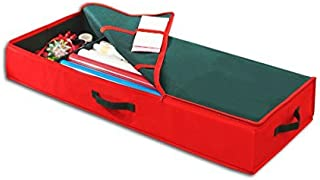 Simplify Christmas Organizer Bed Container for Holiday Storage of Gift Bags, Wrapping Paper, Ribbon, and Bows, Red