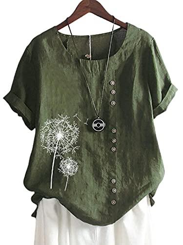 Colisha Camisa de algodón y lino con estampado de diente de león para mujer, blusa suelta