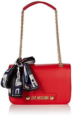 Love Moschino Damen Borsa Small Grain Pu Kuriertasche, Rot (Rosso), 18x28x6 centimeters
