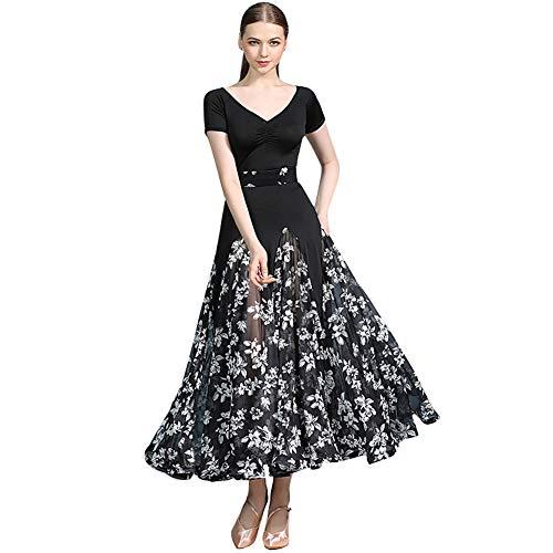 YUMEIREN - Vestido de baile de gasa con cuello en V para baile moderno de baile de flamenco, vestido de baile estándar para práctica de competición, Mujer, color negro, tamaño xx-large