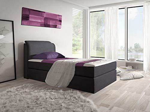 trendteam smart living Boxspringbett Borneo, Stoff Anthrazit, LxBxH 100x200 cm, 100x200