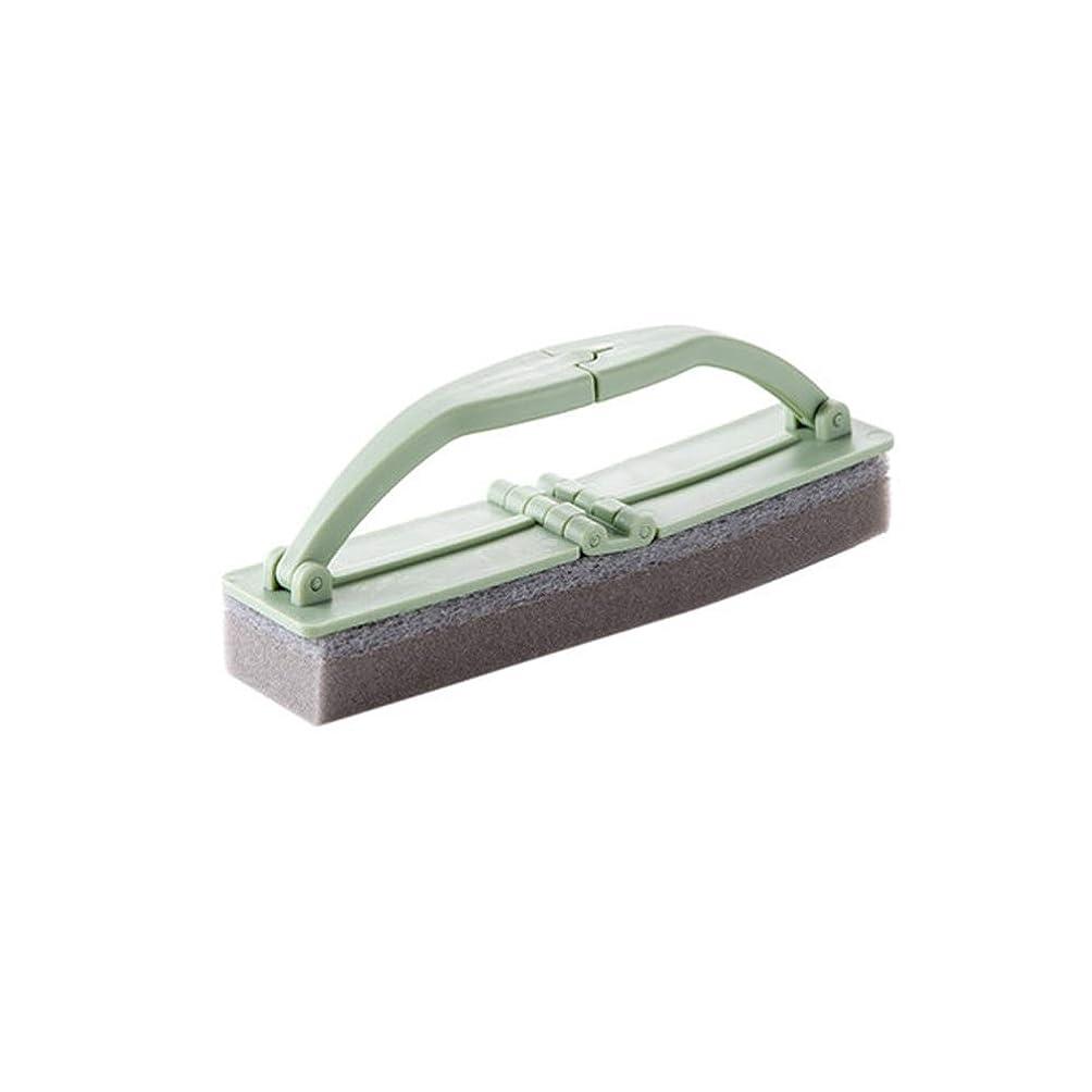 革新ボランティアオズワルドポアクリーニング 折りたたみ式の浴室スポンジハンドル付き強力な汚染除去タイルクリーニングスポンジブラシ2 PCS マッサージブラシ (色 : 緑)