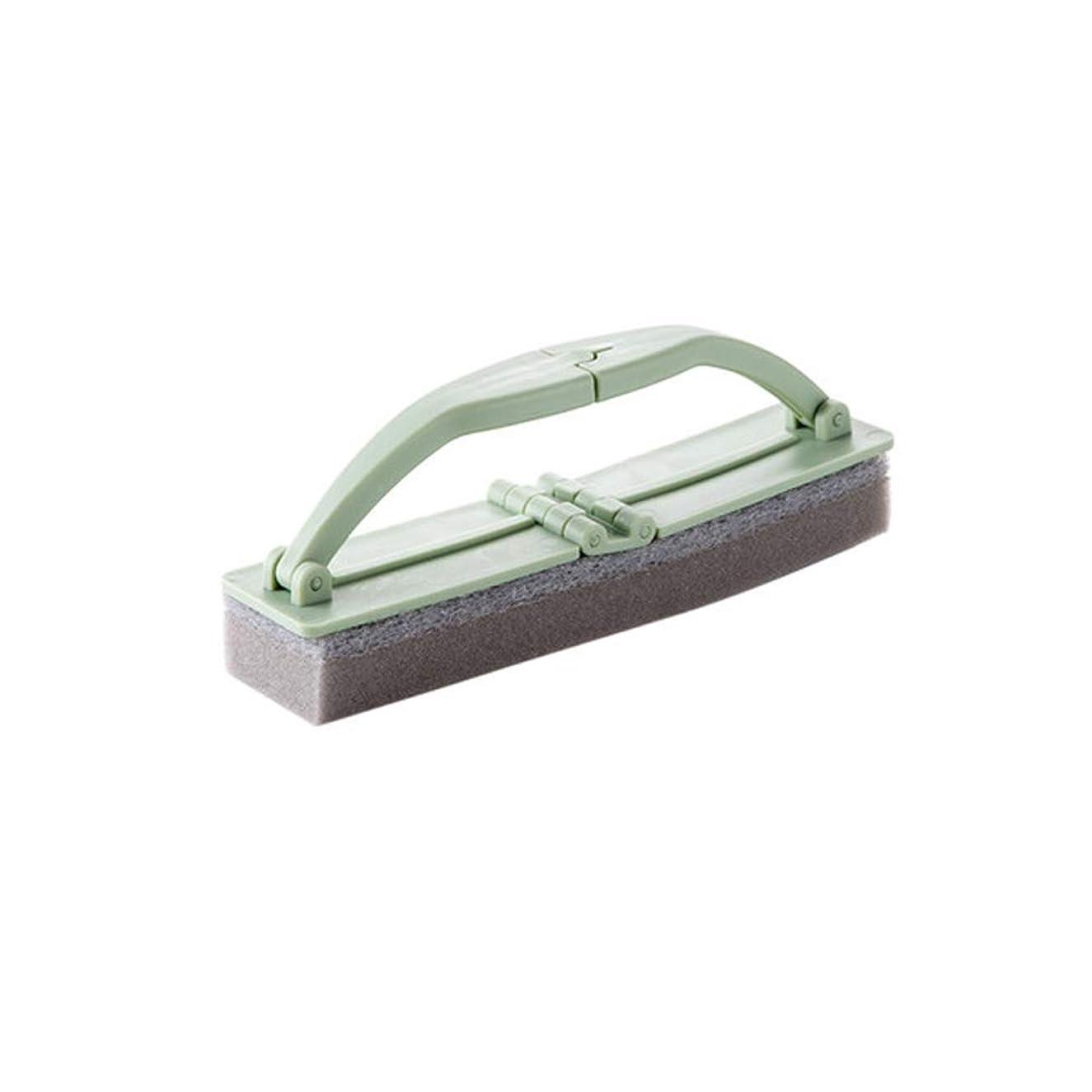 骨髄求める意識ポアクリーニング 折りたたみ式の浴室スポンジハンドル付き強力な汚染除去タイルクリーニングスポンジブラシ2 PCS マッサージブラシ (色 : 緑)