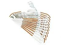 ShopXJ ハンガー 洗濯 すべらない 多機能 かけやすい くるっと 回転 薄くて 収納力 大 ズボン ネクタイ にも 10本セット (オレンジ)