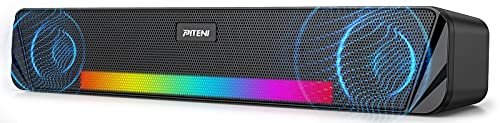 Wireless Computer Speaker, piteni Rechargeable Bluetooth Speaker with AUX and 6 RGB Light Mode, USB and Battery Powered Computer Speaker for Desktop PC,Phone,Portable Soundbar for TV,Laptop,Gaming 10W