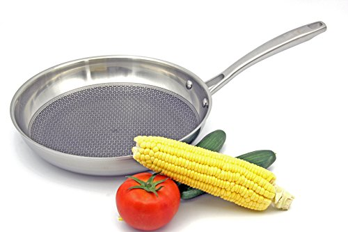 AiNan 3 ply stainless steel 11-Inch Honeycomb Non-Stick Fry Pan,flat wok